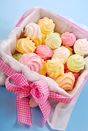colorful meringues in gift box